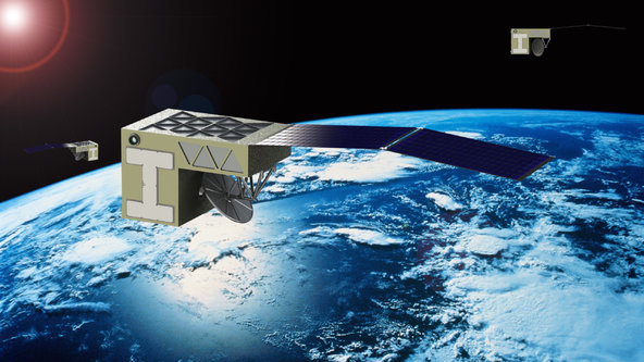 An artist's interpretation of PlanetIQ's satellites in orbit.